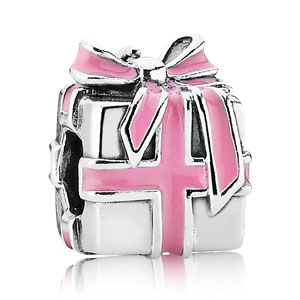 Charm Present with Pink Enamel
