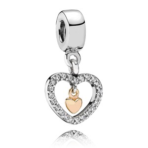 Dangle Heart with 14K & CZ