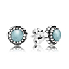 Stud Earring March with Aquamarine