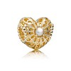 Charm Open Heart with Pearl 14K Gold