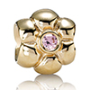 Charm Gold Flower with Pink CZ